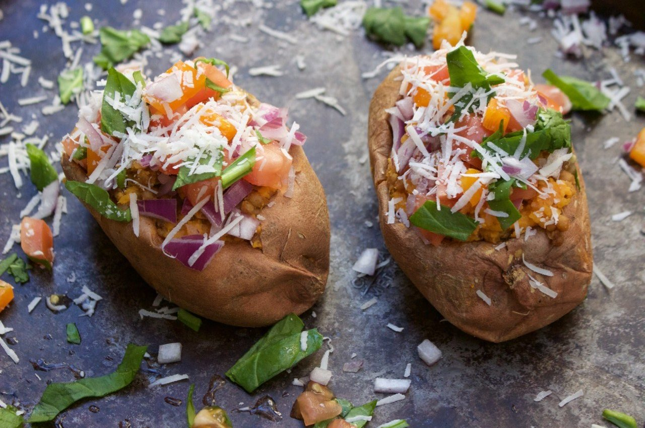 Couscous Stuffed Sweet Potatoes - Wild Garden